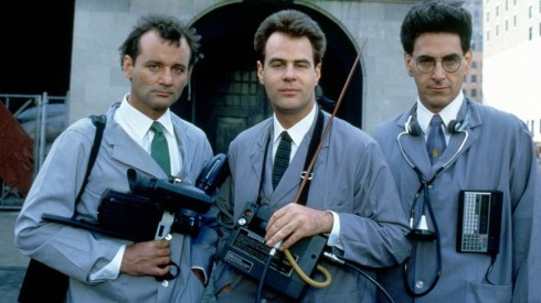 L-R Bill Murray, Dan Aykroyd and Harold Ramis in Ghostbusters (1984)