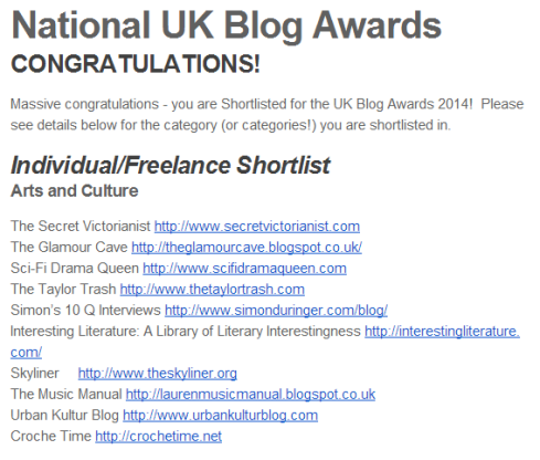 THAT UK Blog Awards Shortlist Announcement