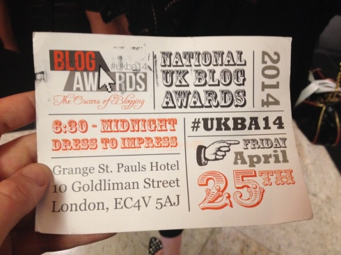 The UK Blog Awards 2014 Invite, featuring my thumb